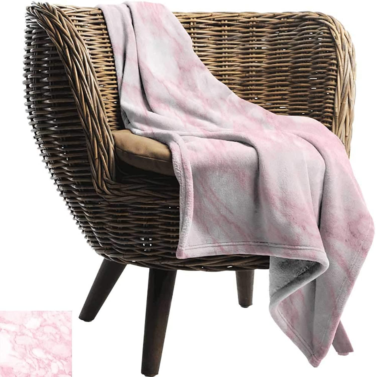 BelleAckerman Camping Blanket,Marble,Soft Granite Texture Old Fashion Space Stone Abstract Macro Scratches Girls Image,Light Pink,Flannel Blankets Made with Plush Microfiber 35 x60