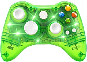 Wireless Game Controller for Microsoft Xbox 360 Console/PC Windows7/8/10-Trasparent Colorfull LED Lights (Green)
