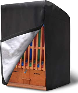 NASUM Funda Protectora para sillón de Playa, Tela 210D Oxford Cubierta Protectora Impermeable para la Silla de Playa de Mimbre(135 x 105 x 175/140 cm)