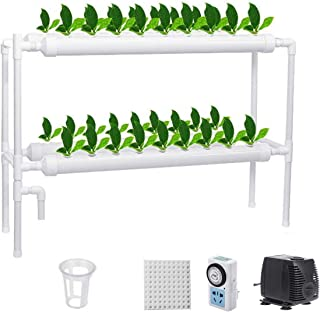 BRIDGEGUO 4Pipe Hydroponics Growing System Plant Hydroponic Grow Kit 36 Sites PVC Pipe Hydroponics Garden Plant Kit For Le...
