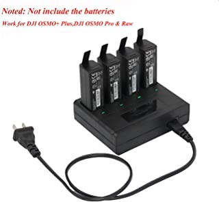 Hobby-Ace 1225mAh Intelligent Battery Charger for DJI OSMO Pro/Raw OSMO+ Plus High Capacity Battery Charger,Charge 4 Batteries at Same Time (Batteries not included)