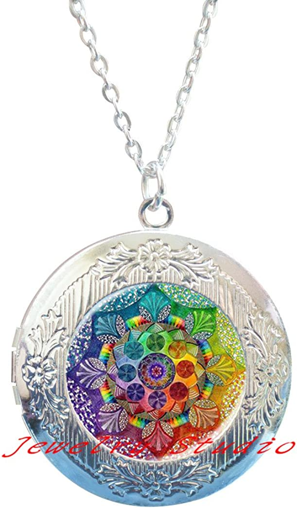 Charming fashion Locket Necklace,Handmade yaga Locket Necklace om symbol buddhism Mandala Locket Necklace Locket Pendant Art Jewelry Glass Photo Locket Necklace-HZ00130
