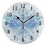 TropicalLife Lihuaval - Reloj de pared redondo con diseño de libélula y mandala, silencioso, no hace tictac, para decoración del hogar, sala de estar, cocina, oficina, dormitorio, negro, 25 x 0,5 cm