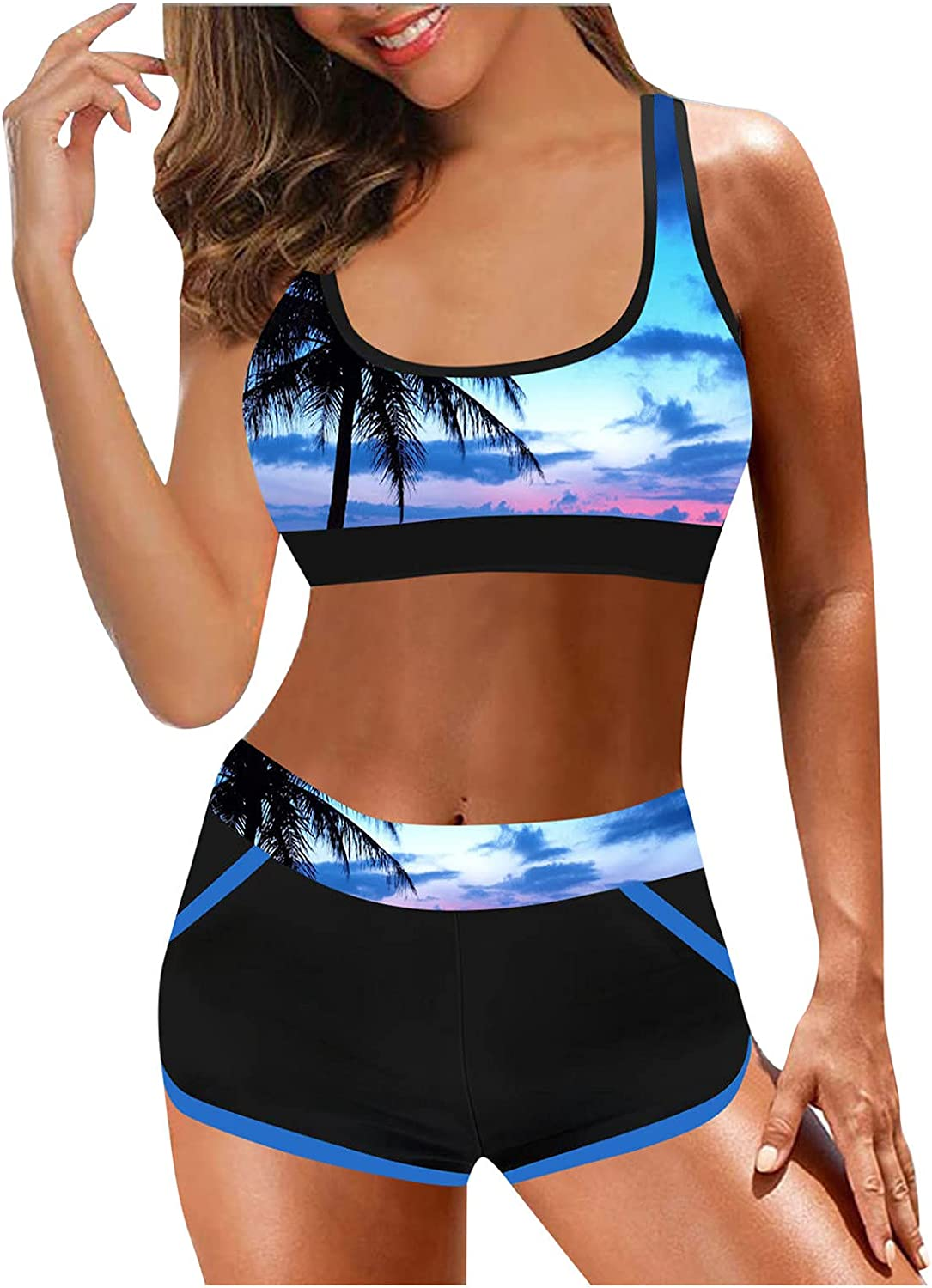 Swimsuits Plus Size Womens Two Piece Floral Tankini Swimsuits (Blue, XXL)