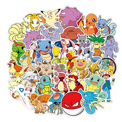 DSSK 100 pièces Autocollants Anime Non répétitifs Pokemon Pikachu Autocollants de Dessin animé étanche et crème Solaire pour Ordinateur Portable Trolley Case Moto Autocollants