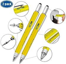 Screwdriver Pen Pocket Multi Tool Kit 6 in 1 - (2 Pack) Multi-Functional DIY Tool Set with Screwdriver, Stylus, Level Tool, Screwdriver Set & Tool Ruler with Phillips Flathead Bit - Perfect Mens Gift