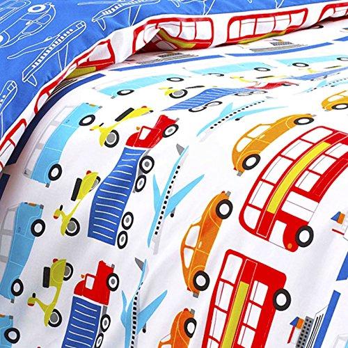 Textile Warehouse Cars Transport Vehicles Lorries Truck Planes Trains Boys Kids Children's Duvet Cover Bedding Set Single
