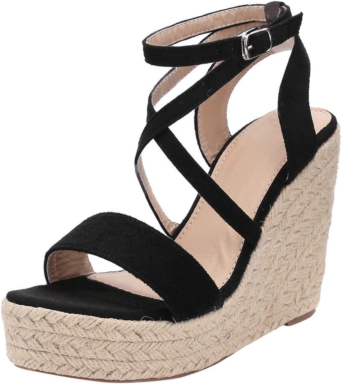 SUSENSTONE Women shoes Roman Open Toe Wedges Sandals