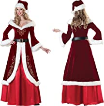 Christmas Santa Claus Costume with Hat and Belt Cosplay Santa Claus Clothes Fancy Dress in Christmas Women Costume Suit fo...