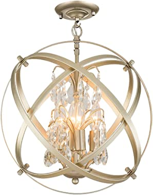 Modern Flush Mount Crystal Chandelier 4 Lights Pendant Light with Champagne Gold Finish Hanging Fixture for Dining Room, Living Room