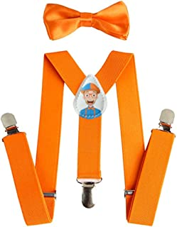 Blippi Kids Orange Suspenders and Bow Tie for, Orange,...