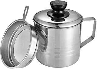 Uarter Oil Strainer Pot Grease Can, 1.5 Quart Stainless Steel Oil Storage Can Container with Fine Mesh Strainer, Suitable for Storing Frying Oil and Cooking Grease, Sliver