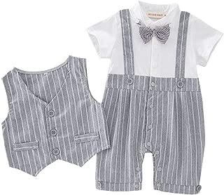 Fairy-Baby Toddler Baby Boys Gentleman Short Sleeve Shirt Cotton Romper Jumpsuit+Vest