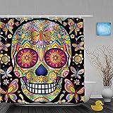 Cortina de Baño,Cráneo Decorado con Flores y Mariposas para Halloween Fondo Negro,Cortinas de Ducha con 12 Ganchos de plástico 180 * 180cm
