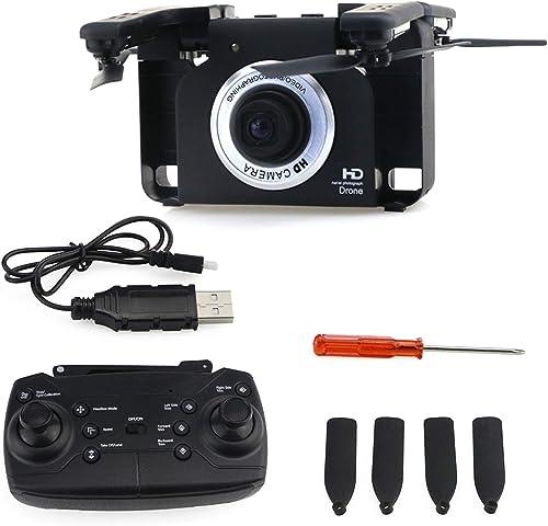 FairytaleMM F6 720P Grand Angle WiFi FPV Caméra HD Pliable RC Drone avec Gesture Selfie Noir