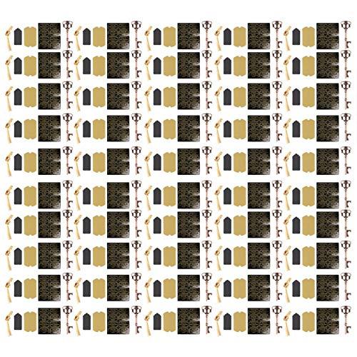 Abrebotellas 50Pcs Estilo europeo Aleación de zinc Forma de llave Boda con etiqueta Tarjeta Twiner Juego de herramientas de apertura(Tipo D (50 piezas))