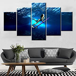 Surfings Action Artwork Younger Girl Wearing Bikini Picture for Bedroom Pink Surfboard Artwork 5 Piece Prints Canvas Painting Contemporary Home Decor Framed Gallery-Wraedpp Ready to Hang(60''Wx32''H)