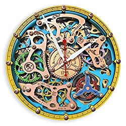 Automaton Tourbillon Gypsy Boho Large Wall Clock, Handcrafted Steampunk Design, Mechanical moving Gears, Wooden Home Kitchen Living Room and Office Decor, Personalized Decorative Art, Custom made Gift