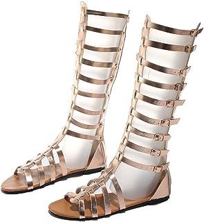 BIBOKAOKE Zomersandalen voor dames, casual, platte hak, Romeinse sandalen, vrijetijdssandalen, knielaarzen, gesp, ademend,...