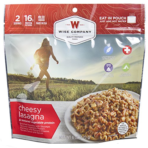 Wise Foods Entree Dish Cheesy Lasagna 2 Servings Hunting Field Processing Kits