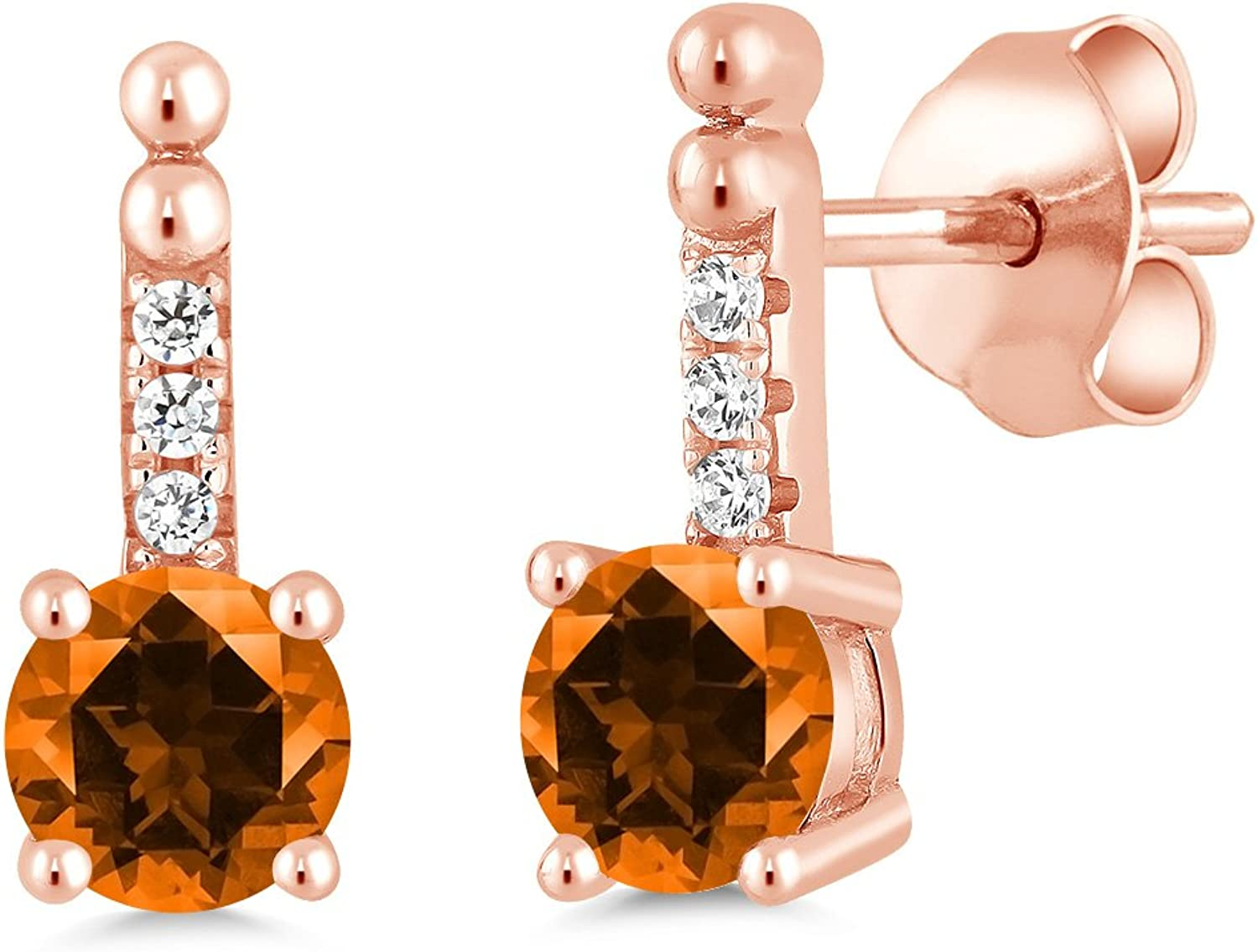 1.16Ct Poppy 925 pink gold Plated Silver Earrings Natural Topaz Cut by Swarovski