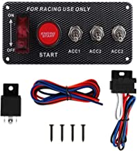 CT-CARID Ignition Switch Panel Start Push Button 12V LED Carbon Fiber Toggle Switch Panel for Racing Car