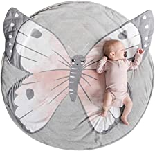 sdtdia Baby Rugs Creeping Crawling Mat Cartoon Animals Sleeping Rugs Baby Play Mat Anti-Slip Game Mat Floor Play Mat Kids Room Decor Diameter 90cm (Butterfly)
