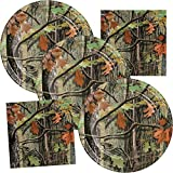 Camo Birthday Party Supplies Hunting Theme Disposable Plate & Napkin Set Serves up to 16 Guests