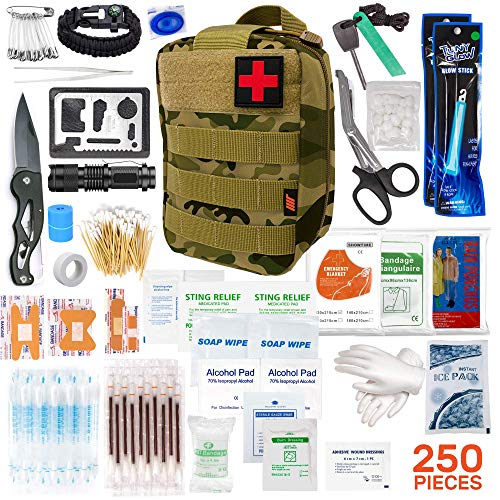250pcs Tactical First Aid Kit Includes Molle Compatible Bag - Perfect for Hiking Hunting Camping Car Boat Adventures Emergency or Earthquake Safety… (Camo)