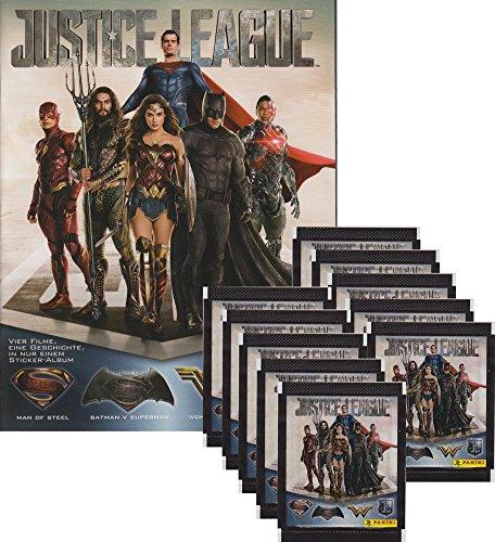 Panini - Justice League Sammelsticker - Tüten, Display, Album (1 Album + 10 Tüten)
