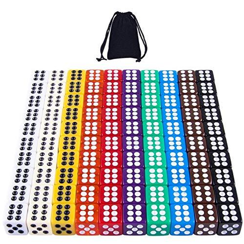 SIQUK 100er Würfel Bunt 6 Seitig 12mm Würfel für Tenzi Casino Würfelspiele Tischspiele, 10 Farben