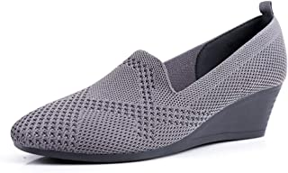 Women Knitted Casual Sneakers Heels Wedge Shoes Square Slip On Loafers