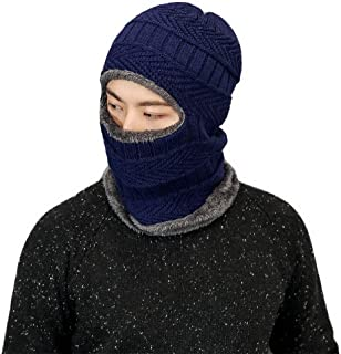 Men Knit Hats Winter Soft Lined Thick Hats Windproof Face Cover Mask Cap