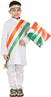FOCIL Indian Republic Day Special White Cotton Kurta Pyjama with Flag for Kids (Pack of 6) (8-9 Years)