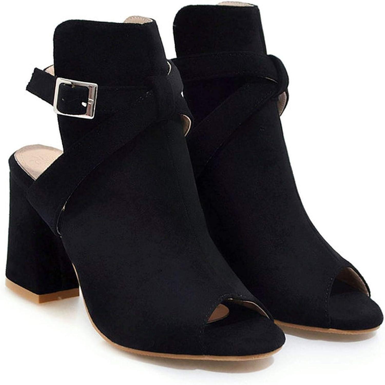 YuJi Gladiator Sandals Buckle Chunky High Heel shoes Cross-Tied Peep Toe Female Sandals