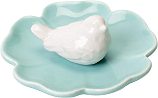 White Bird and Petal Blue Porcelain Ring Dish Jewelry Holder
