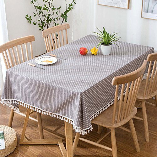 Creek Ywh tafelkleed, blauw, Nordic Simple tafelkleed, waterafstotend, tafelkleed voor het bureau, vierkant, strepen, 110 x 170 cm