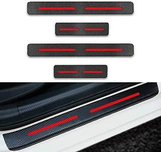 for Ford Fiesta Monoeo Edge Ecosport 4Pcs CarDoorSillProtector,3DReflectiveCarbonFiberVinylScuffPlateGuardsProtectiveAnti-ScratchWaterproofSticker Red