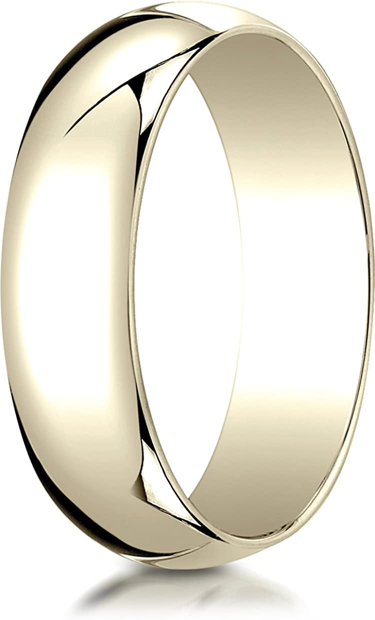 Benchmark 10K Yellow Gold 6mm Slightly Domed Traditional Oval Wedding Band Ring (Sizes 4 - 15 )