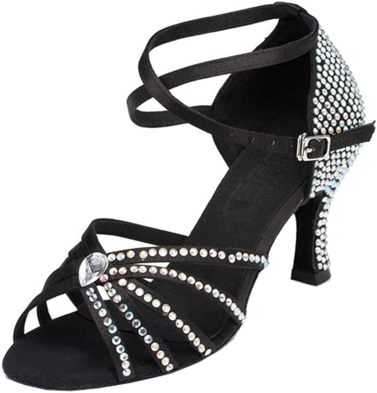 TDA Women's Ankle Strap Peep Toe Satin Crystals Salsa Tango Ballroom Latin Modern Dance shoes