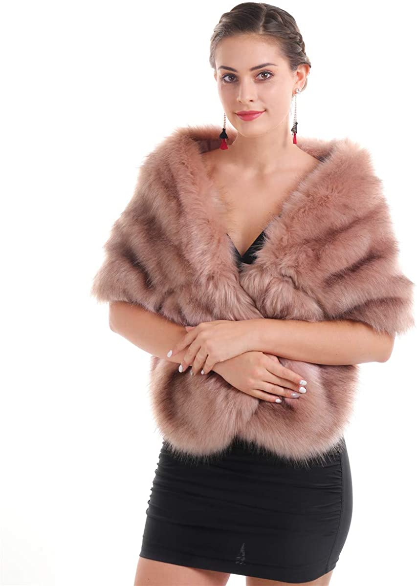 Lucky Leaf Women Luxurious Large Winter Faux Fur Scarf Wrap Collar Shrug for Lady Poncho Wedding Dinner Party