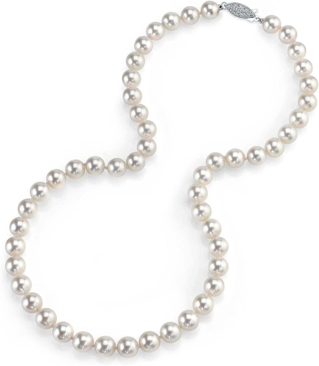 THE PEARL SOURCE 14K Gold 7.5-8.0mm Round Genuine White Japanese Akoya Saltwater Cultured Pearl Necklace in 20
