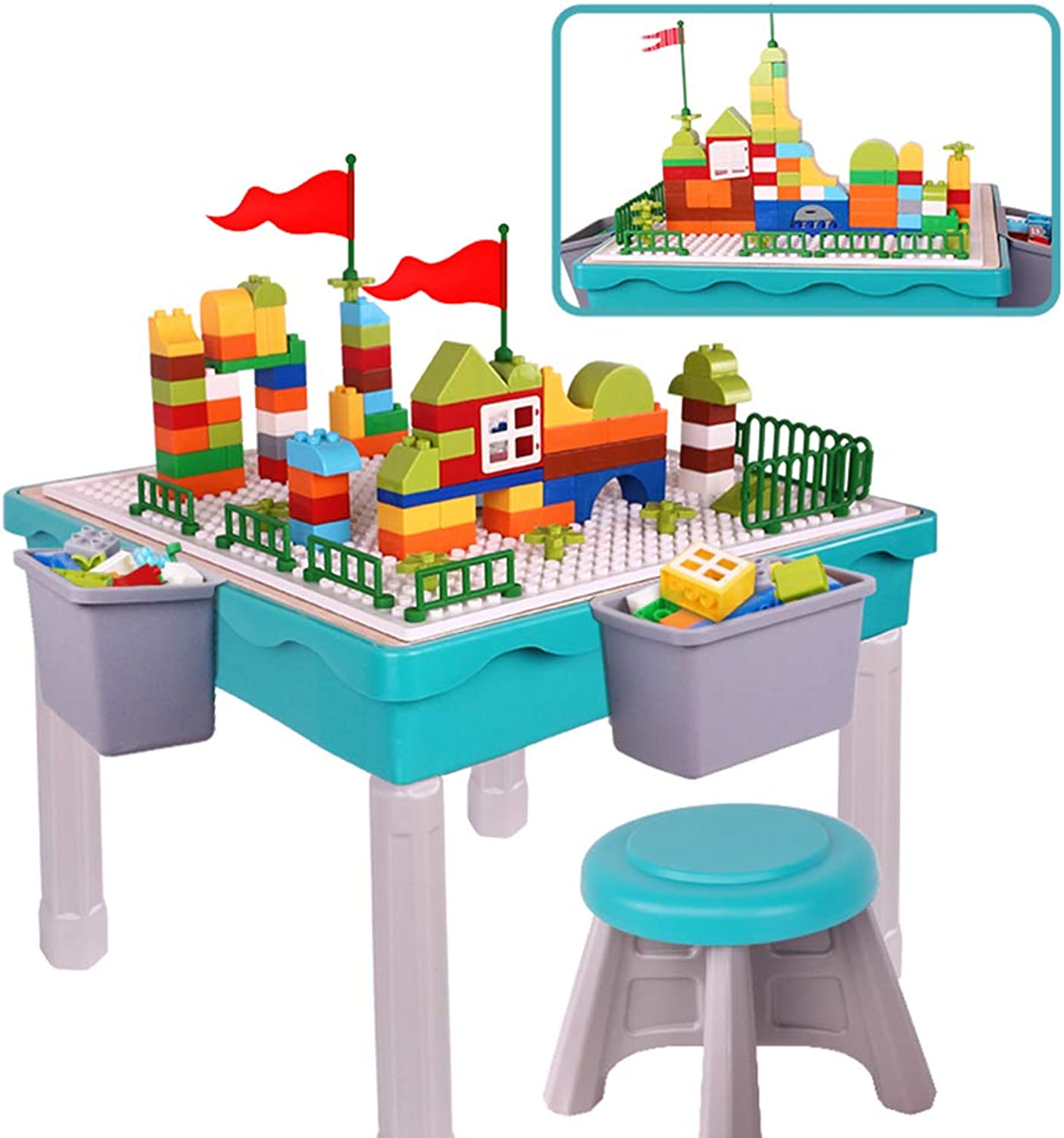 EP-Toy Kids Storage Block Table (Bausteine Puzzle Spielzeug) Multifunktionale Double-Area Bricks Big Table Top (22,5 × 22,5  × 5,4 )