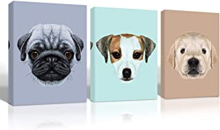 Gardenia Art - Cute Dog Animal face Canvas Wall Art for Nursery Room Decoration Three Puppy Head Portraits Pictures 12x16 in 3 Pcs Stretched and Framed a to Kids