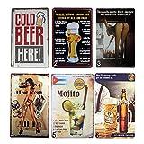 ATCKER「アタカル」メタルプレート レトロ アメリカン ブリキ 看板 バー ビール おしゃれ インテリア 6枚セット
