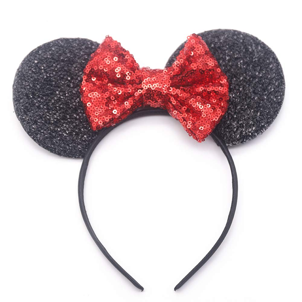 Missgrace Baby Girl Gold Sequin Bow Headband for Party and Festival Glitter headband Glitter Fabric Bow Flower Girls and Baby Girls Hair Accessories (Red)
