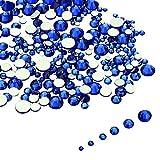 LolliBeads Resin Crystal Round Nail Art Mixed Flat Backs Acrylic Rhinestones Gems,Mix Size 1.5-5 mm, Color Sapphire Blue (1200Pcs)