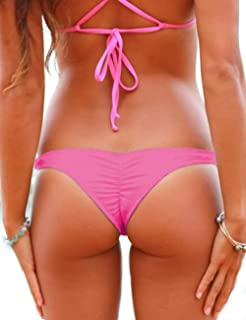 CROSS1946 Women's Bikini Thong Bottom Brazilian V Cheeky Ruched Semi Swimsuit