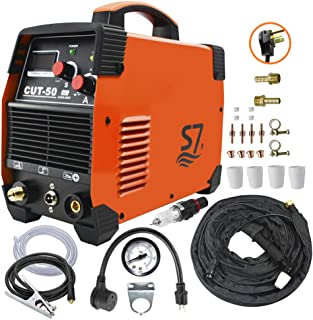 Plasma Cutter, 50A Inverter AC-DC IGBT Dual Voltage (110/220V) Cut50 Portable Cutting Welding Machine With Intelligent Digital Display With Free Accessories Easy Cutter Welder …