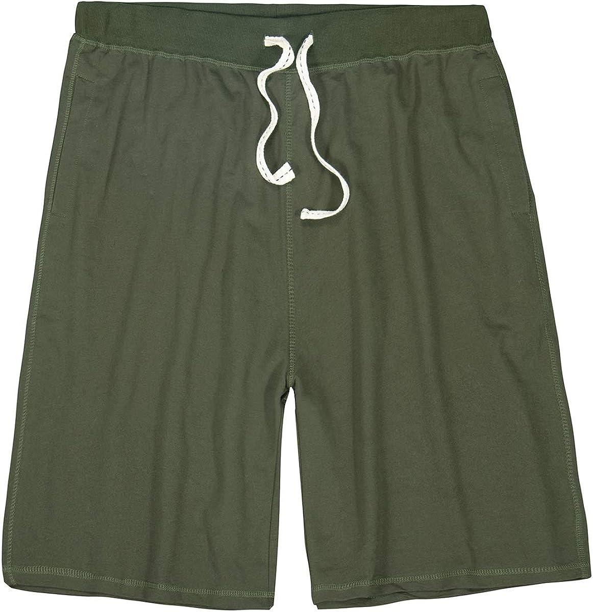Kolongvangie Mens Casual Cotton Shorts Workout Drawstring Summer Beach Pajamas Shorts with Elastic Waist and Pockets